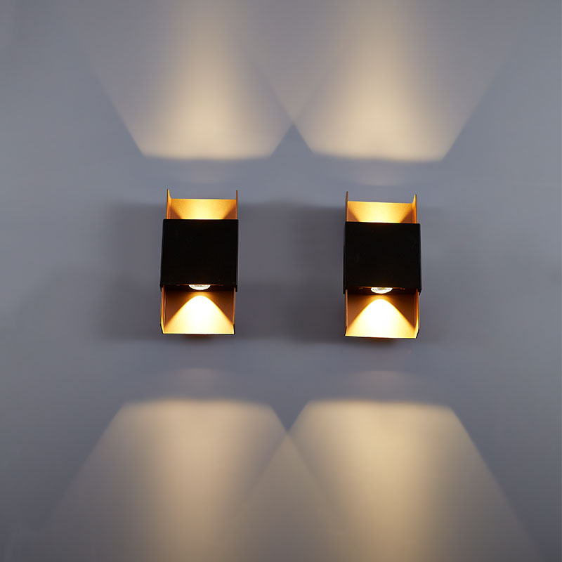 Led wall lamp 3Wx2 sand black + gold